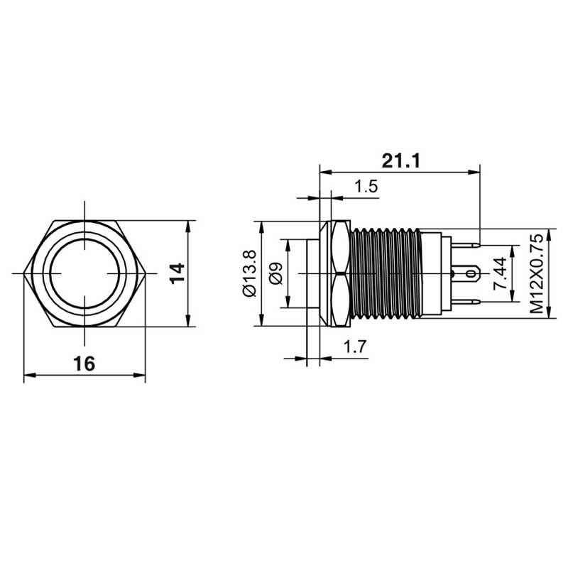 1 cái 12mm Chống Nước Nhất Thời Tròn Cao Cấp Thép không gỉ Kim Loại Công Tắc Ấn Nút Xe Bắt Đầu Loa Còi Chuông Tự Động thiết lập lại