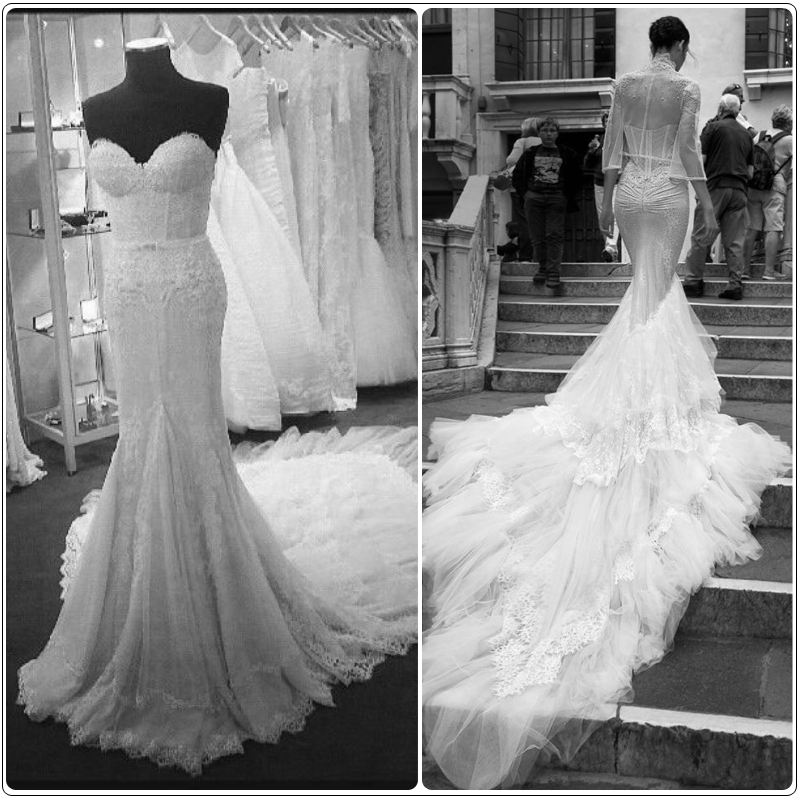 7746980dc3d405 Inbal Dror Wedding Dresses Mermaid Lace Backless Sweetheart Luxury Beaded  Pearl Back Cathedral Train Wedding Dress Real Photo