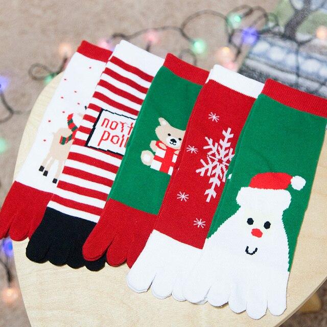 Рождество Зима мультфильм хлопок Теплый Мягкий Аниме Хлопок 5 Пальцев Носки Фанки Носки Пять пальцев носки 5 пара
