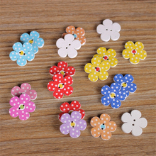 50Pcs/lot Wooden Buttons 2 Holes Mixed Wood Sewing Buttons 15MM Flower Shaped Buttons Crafts Sewing Decoration 2C