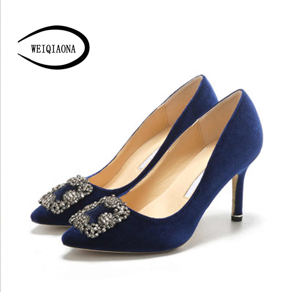 WEIQIAONA 2019 Flock Brand Design Women shoes New Luxury Crystal Pointed  Toe High Heels Party Shoes cc9dd3c23409
