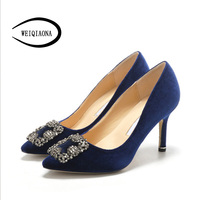 WEIQIAONA 2019 Flock Brand Design Women shoes New Luxury Crystal Pointed Toe High Heels Party Shoes Ladies Shoes Wedding Shoes