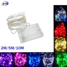 Светодиодный светильник-гирлянда s 10 м 5 м 2 м с серебряной проволокой, сказочный светильник, украшение для рождественской свадебной вечеринки, питание от аккумулятора, USB светодиодный светильник
