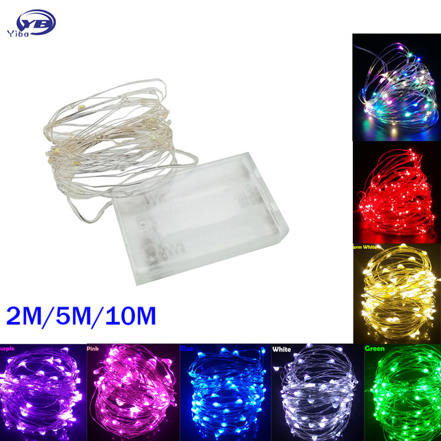 Светодиодный гирлянды 10 м 5 м 2 м серебряной проволоки Фея свет Рождество Свадебная вечеринка украшения приведенный в действие Батарея USB светодиодный ламп