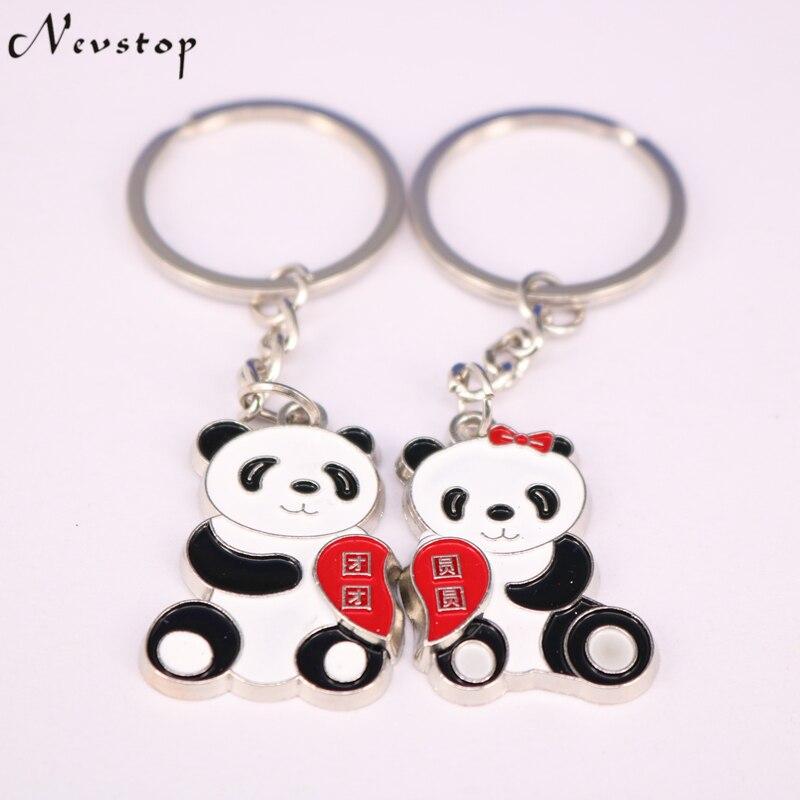 1 пара влюбленных подарок panda пару ключей брелок День Святого Валентина брелок кольцо llaveros