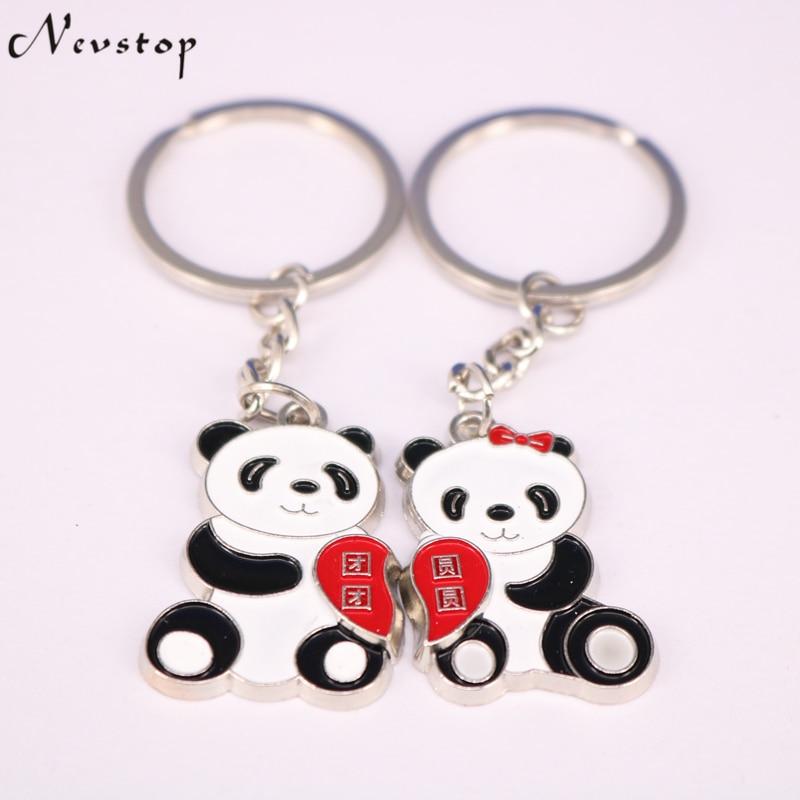 1 Pair Lover Gift Panda Couple Keyring Keyfob Valentine's Day Keychain Ring Llaveros