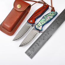 New Damascus pocket folding knife red sandalwood or abalone shell handle camping hunting survival utility knives leather holder