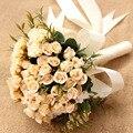 Peonías Artificiales de la vendimia Rose Bridal Bouquet Cinta buque noiva branco Rosa ramo de Flores de La Boda de dama de Honor 2017 de las novias