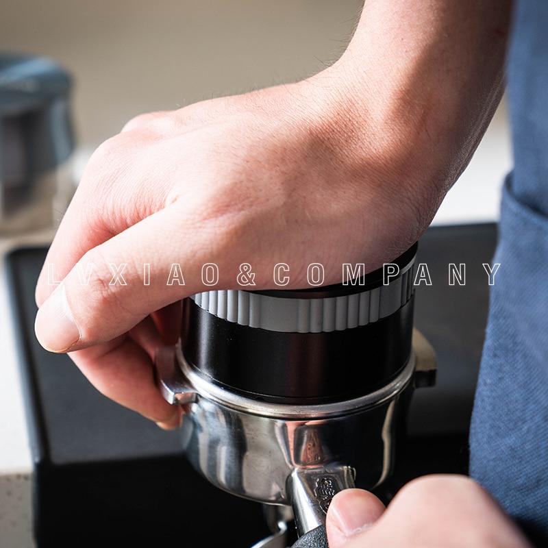 Watchget Flat Press&Rebound 58mm Stainless Steel Coffee Powder Espresso Bean Tamper Press Hammer Coffee Distribution Tool