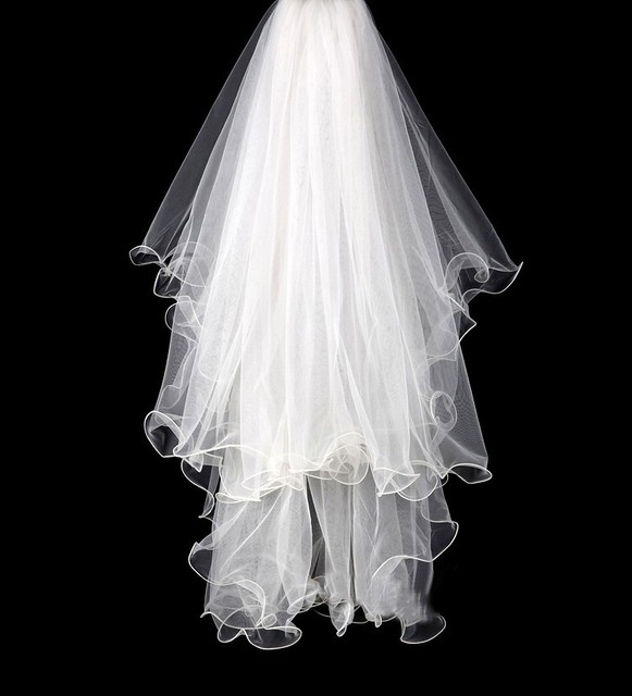 New 2T Handmade Ruched Edge Curl Wedding Veils With Comb Tulle Ivory Puffy Light Elegant Bridal Veil Accessories