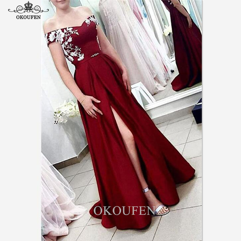 Chic 3D-Floral White Appliques   Bridesmaid     Dresses   2019 Burgundy Off Shoulder Split Long Maid Of Honor   Dress   Party For Women