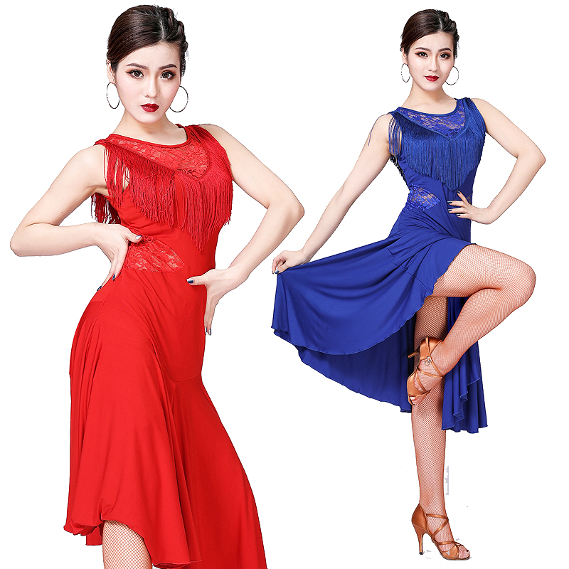 Latin Dance Costume Dress Competition Dress for Ballroom Salsa Jazz Cha Cha Dance Wear Practice Dress Lace Tassel Charleston
