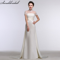 섹시한 쉬어 높은 목 인어 웨딩 드레스 장식 조각 진주 짧은 소매 새틴 신부