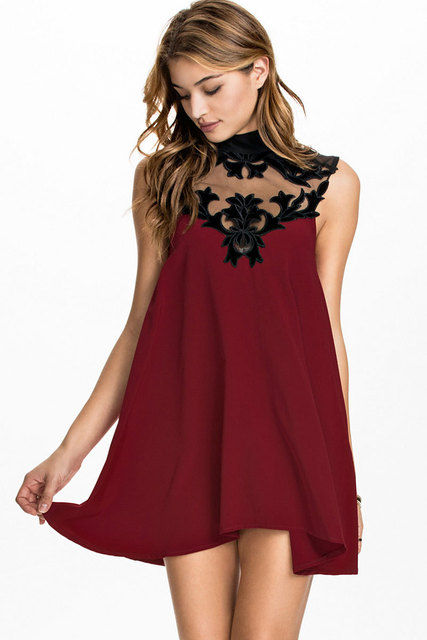 029ae7aa20 New High Neck Lace Floral Mesh Insert Red Velvet Skater Party Dress D21773  Cute Girl Sexy