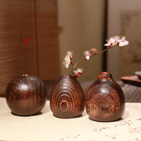 Burning tung wood vase Solid wood flower Wood vase Creative table flower Ornaments Home Decorations