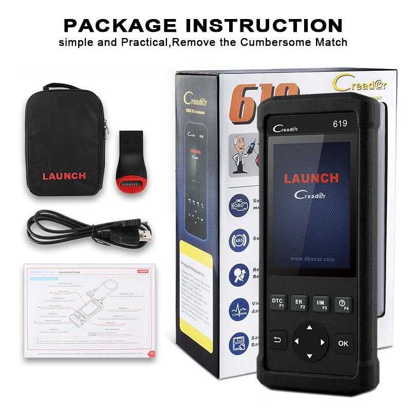 Crash Data Car Diagnostic CR619 OBD2 Automotive Scanner For ABS SRS Airbag 5