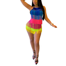 Coloured Multi-layer tasseled Sexy Playsuits Women Amazon New Cascading Ruffle Cake Jumpsuits Summer Beach Party Casual Romper