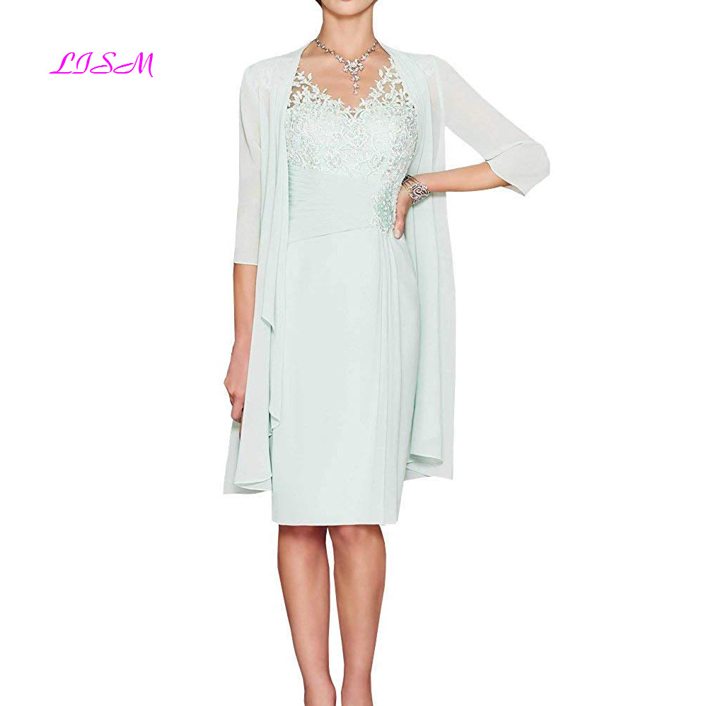 Women's Summer Elegant Knee Length Mother Of The Bride Dresses With Chiffon Jacket