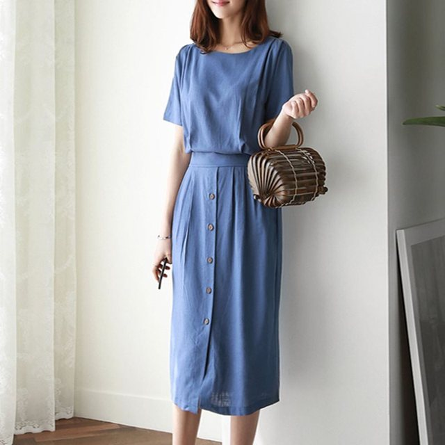 Elegant Korean Vintage Simple Summer Party Blue Women Midi Dresses Casual Bodycon High Waist Button Plain Female Retro Dress