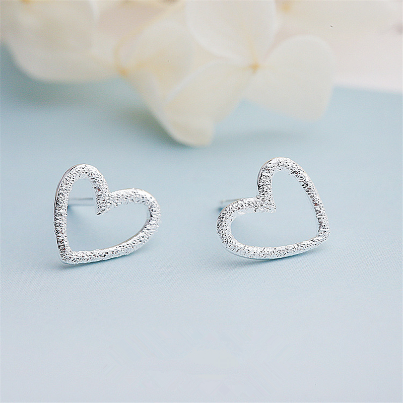 Female Heart Stud Earring Silver Color Earrings For Women Gift Party Jewelry Pendientes Mujer