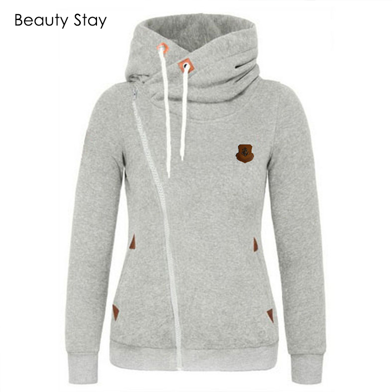 BeautyStay Long Sleeve Pockets Side Zipper Girls Hoodies Women Oversized Zip Hoodie Autumn Winter Female Warm Hooded Sweatshirt