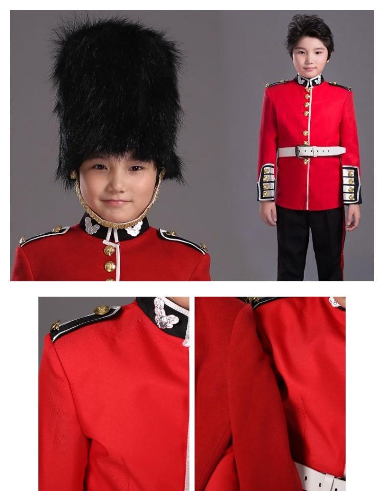 Купить с кэшбэком Halloween Costume For Children British Royal Guard Uniform Boys Cosplay Costume American soldier uniform Party Performance