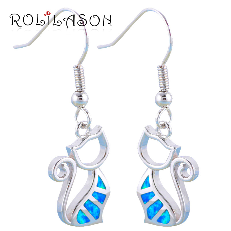 ROLILASON Cute Cat Design Birthday Gifts for Ladies Blue Fire Opal 925 Silver Fashion Jewelry Drop Earrings OES627
