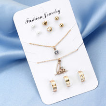 Trendy Bridal Gold Silver Jewelry Sets Austrian Clear Crystal Cute Cat Pendant Necklace Earrings Ring Bracelet Femme Accessory(China)
