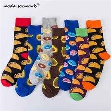 Moda Socmark New Cotton Happy Socks Men/Women British Style Casual Harajuku Designer Brand Delicious Food Print Funny