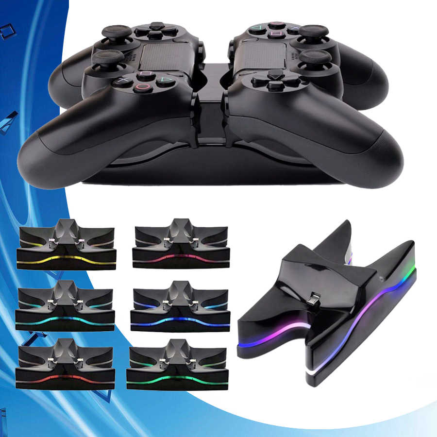 PS 4 Slim/Pro Controller Charger Colorful LED Joystick Cepat Pengisian Dock Station untuk Play Station 4 DualShock 4 PS4 Aksesoris
