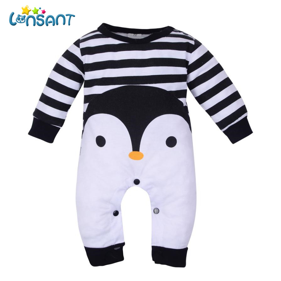 LONSANT Baby   Rompers   Unisex Baby Clothes Long Sleeve Striped Jumpsuit Cartoon Cotton Winter   Rompers   Kid Clothes Dropshipping