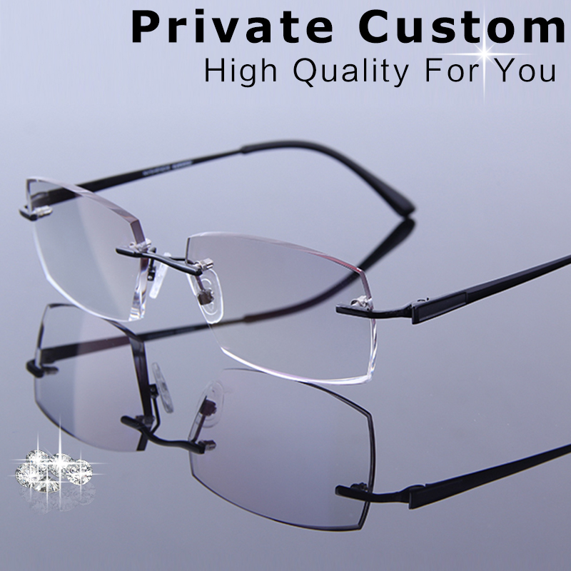 abe542f85b Metal Alloy Rimless Eyeglasses Men Prescription Glasses Myopia Hyperopia Frameless  Multi Focus Spectacle For Presbyopia-in Prescription Glasses from Apparel  ...