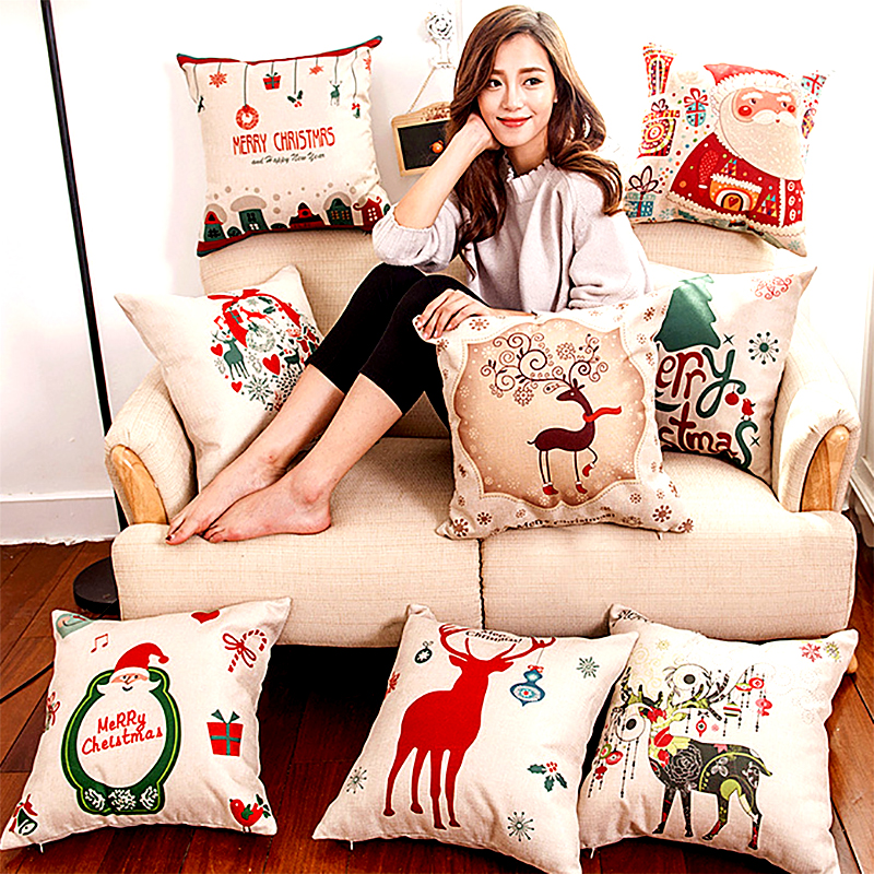GZTZMY 1Pcs 45*45 Cm New Year Christmas Decorations For Home Christmas Cushion Cotton Linen Decorative Pillows Navidad Natal