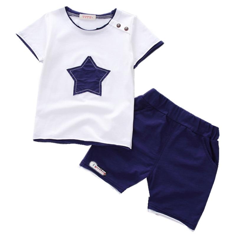 Zēnu apģērbu komplekts 2018 Vasaras jaunais modes apģērbs 100% kokvilna ar piecu zvaigžņu izdruku 1 2 3 gadus vecs zīdaiņu apģērbs 2gab. Komplekts A075