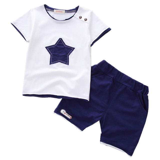ad6ec969384 Boys clothing set 2018 Summer new fashion 100% cotton with five-star print  for