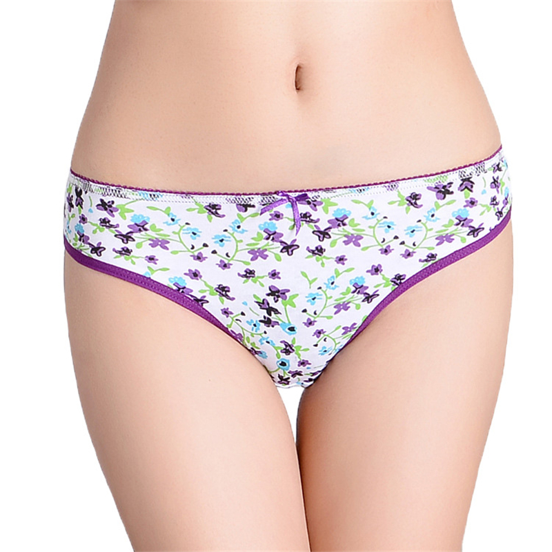 FUNCILAC Woman Underwear Cotton Sexy Panties Floral Printed Briefs Ladies Knickers Intimates For Women (5pcs/lot) SIZE M L XL