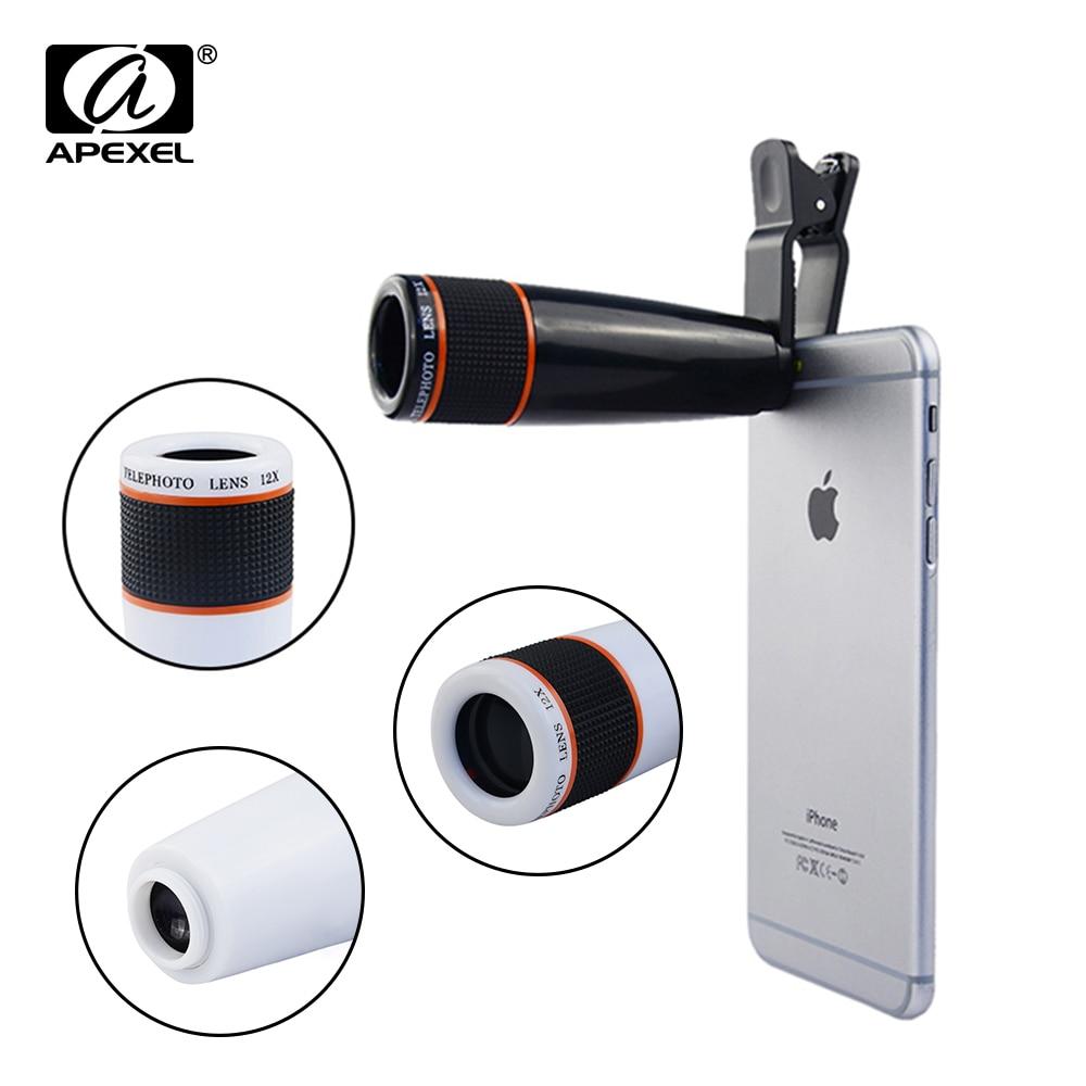 APEXEL <font><b>Phone</b></font> <font><b>Lens</b></font> Universal Clip 12X Telephoto <font><b>Lens</b></font> Mobile <font><b>Phone</b></font> Optical <font><b>Zoom</b></font> Telescope Camera For iPhone Sumgung HTC xiaomi