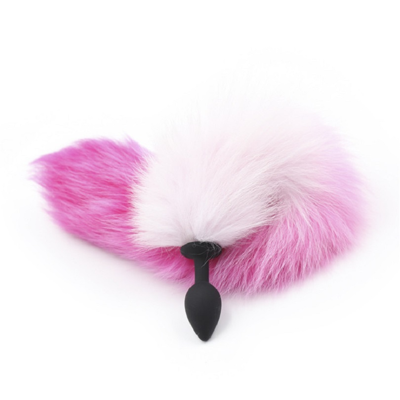 New silicone black Anal Plug beads pink purple fox tail Butt plug Role Play Flirting Fetish erotic sex Toy for Women