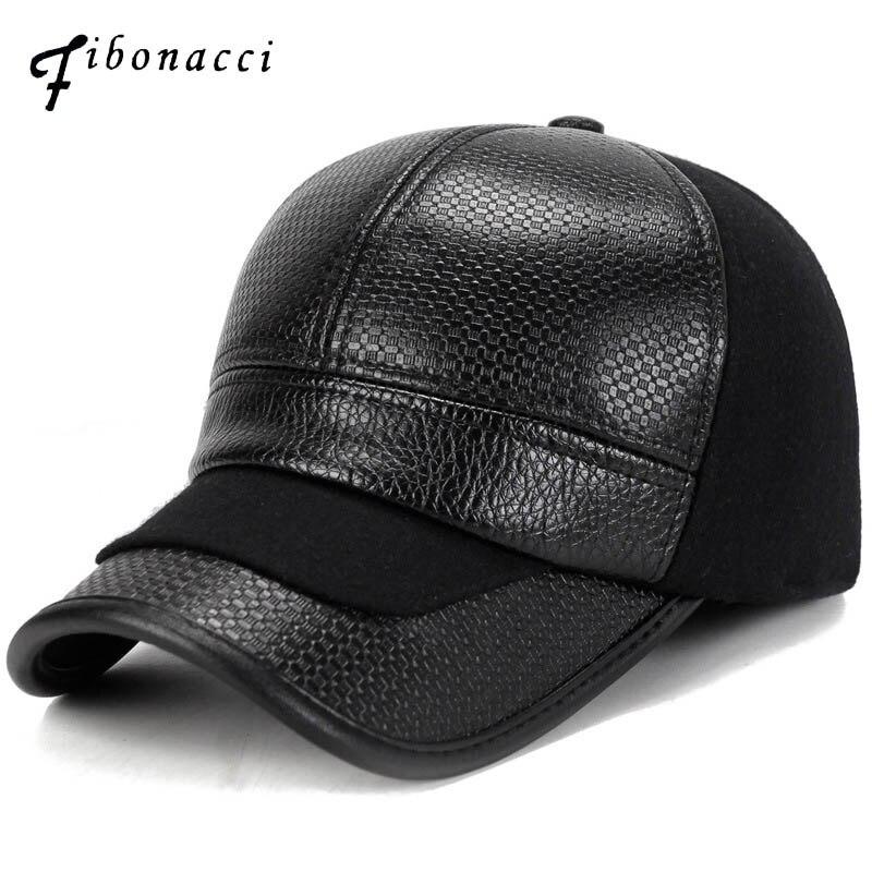 Fibonacci Mens Winter Warm Nylon Baseball Cap Hat Faux Leather Patchwork With Earmuffs Warmer Cap for Men Dad Hat