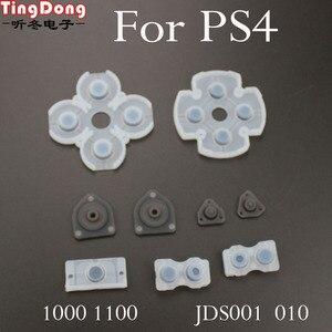Image 3 - TingDong 100 Set Sony Playstation 4 PS4 Denetleyici İletken Silikon lastik tamponlar Dualshock 4 Düğmeler Onarım Değiştirme