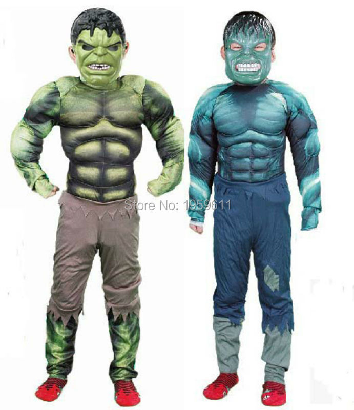 Multicolor Style Avengers Hulk Classic Muscle Kids Costume T Shirt Fancy Dress Halloween Cosplay Child Suit For Pick