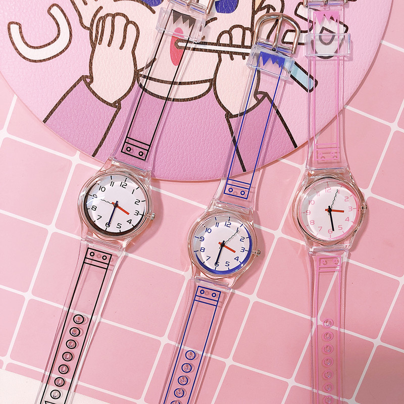 20191 Pcs Women Clear Silicone Band Wrist Watch Jelly Comic Style Quartz Casual Watches