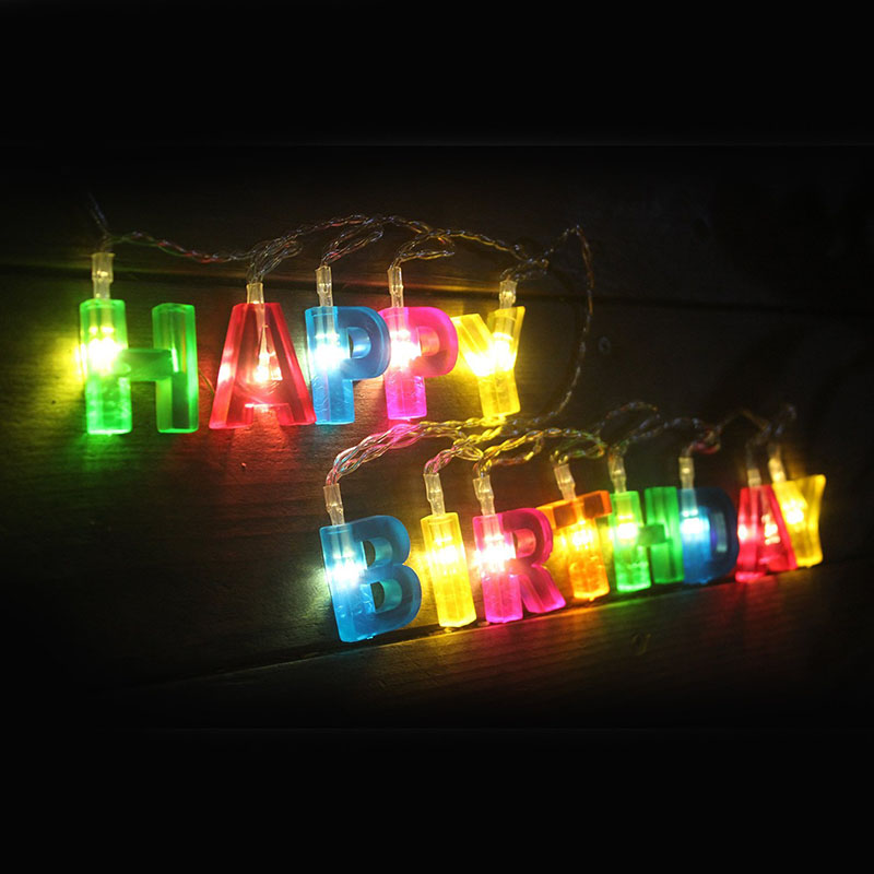 HAPPY BIRTHDAY Letters Leds String Lights Kids Baby Birthday Party Hanging Decoration Multicolor Letter Light Festival Lantern In Lanterns From Home
