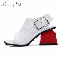 2018 Genuine Leather Square Peep Toe Ankle Straps Fashion Women Sandals Women High Heels Mixed Colors