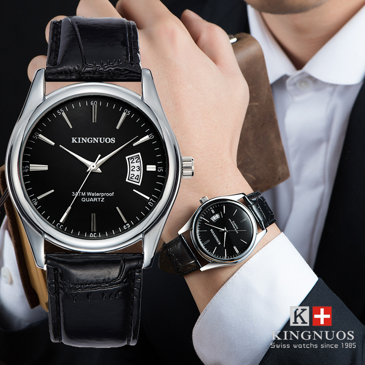 KINGNUOS 2017 Famous Brand Silver Watches Men Leather Casual Analog Date Day Waterproof Sports Business Quartz Wrist Watch Gifts kingnuos famous brand luxury watches men leather strap quartz wrist watch men s fashion casual business sports dress watch clock
