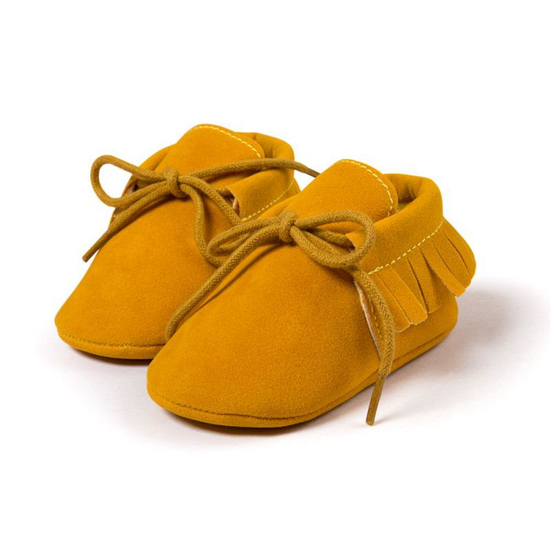Baby Boy Girl Moccasins Moccs Shoes First Walkers Bebe Fringe Soft Soled Non-slip Footwear Crib Shoes PU Suede Leather