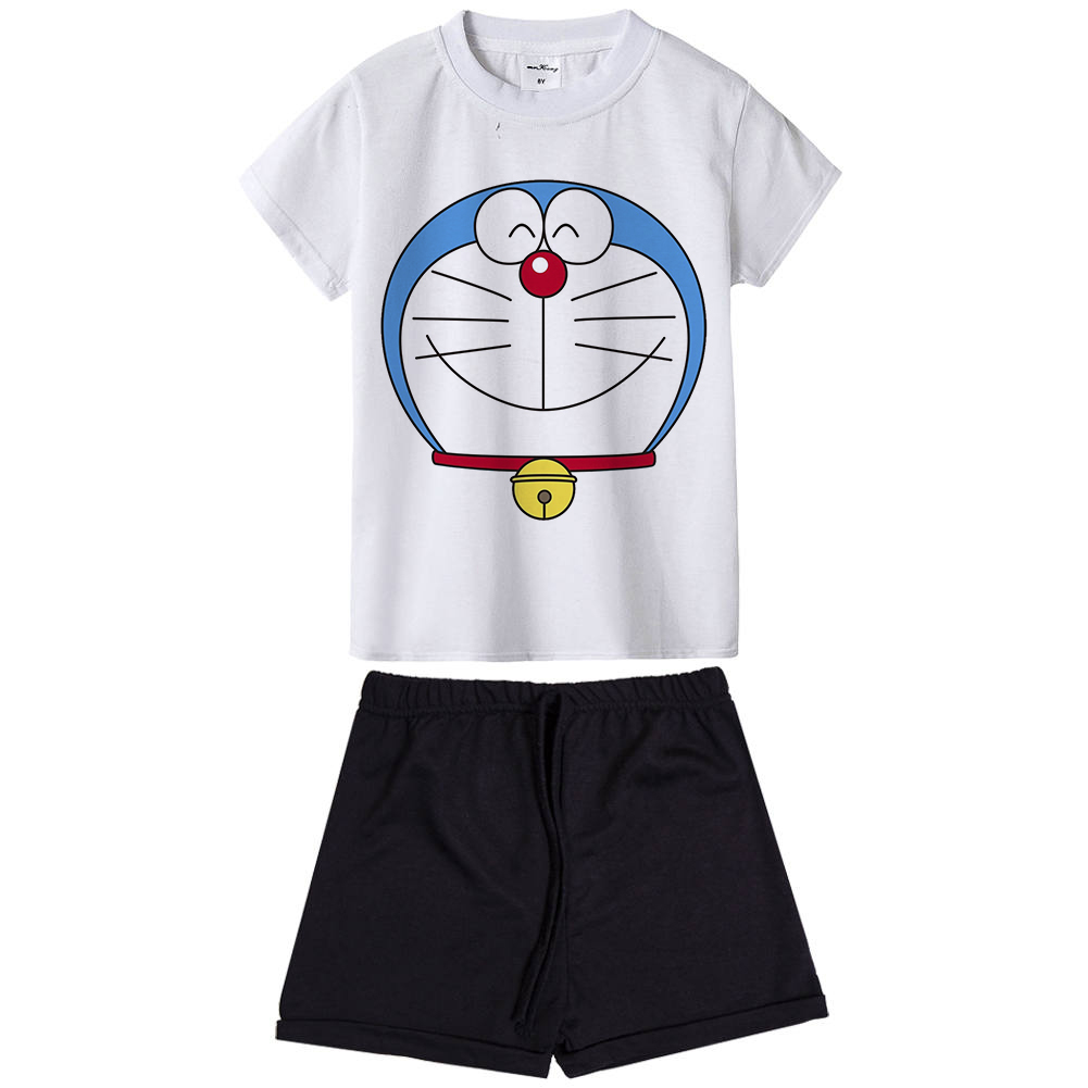 New Doraemon Kids Clothing Set Summer Anime Cartoon Children Clothes Boys Girls Outfit Boys Girls T-shirt + Pants 2 Pieces Suit