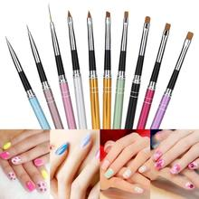 цена на 10pcs Nail Art Brush Painting Pen Professional Nail Art Design Curving Drawing Gel Painting Pen Polish Brush Set Tool
