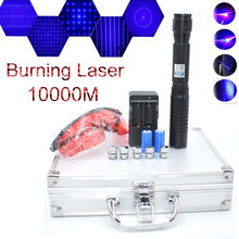 Most Powerful Burning Laser pointer Torch 450nm 10000m Focusable Blue Pointers Flashlight burn match candle lit cigarette