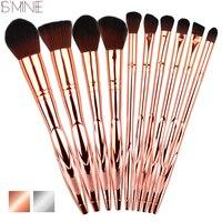 ISMINE Professional 10Pcs Set Makeup Brushes Set Electroplating Rose Gold Handle Powder Foundation Make Up Brushes